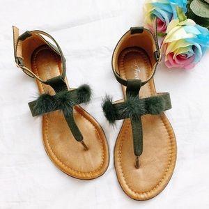 BNIB Army green pom pom t-strap sandal slipper 7.5